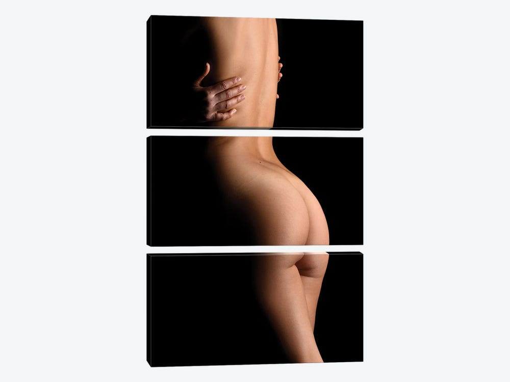 Nude Woman's Back Sensual Standing Up Naked On Black Background by Alessandro Della Torre 3-piece Canvas Print