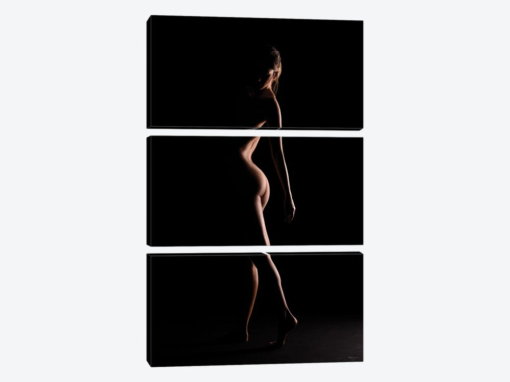 Nude Woman's Bodyscape Sensual Standing Up Naked On Black Background V 3-piece Art Print