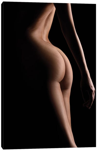 Close Up Of Nude Woman's Bodyscape Sensual Standing Up Naked On Black Background IV Canvas Art Print