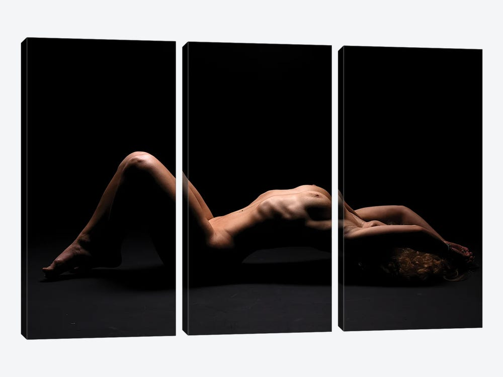 Nude Woman's Body Bodyscape Laying Down Naked by Alessandro Della Torre 3-piece Canvas Wall Art
