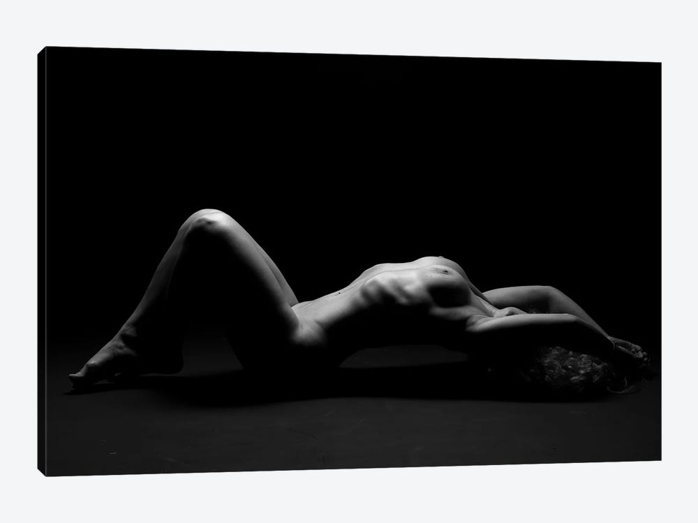 Nude Black And White Photography Of Naked Laying Down Girl I by Alessandro Della Torre 1-piece Canvas Wall Art