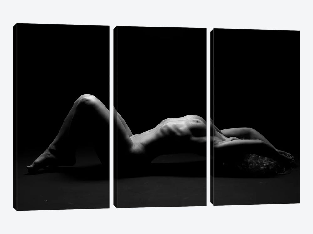Nude Black And White Photography Of Naked Laying Down Girl I by Alessandro Della Torre 3-piece Canvas Wall Art