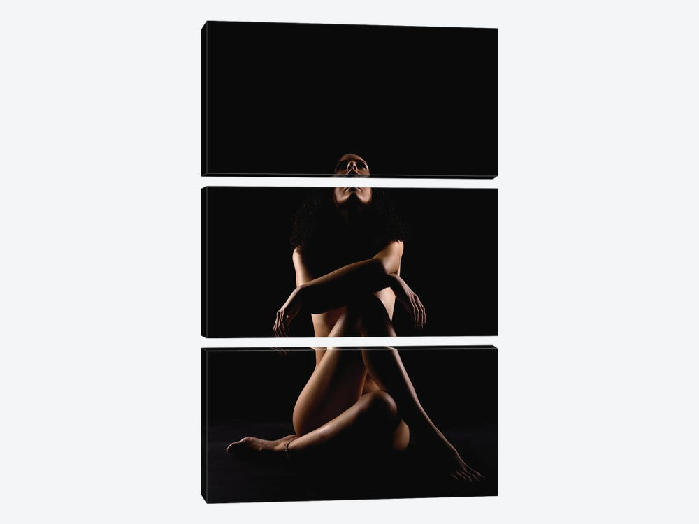 Woman's Nude Sensual With Crossed Legs And Arms by Alessandro Della Torre 3-piece Canvas Wall Art