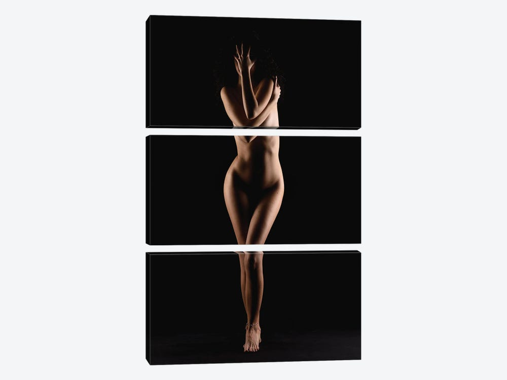 Nude Woman Stainding Up Naked As Bodyscape Silhouette II by Alessandro Della Torre 3-piece Canvas Print