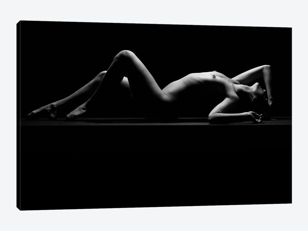 Nude Laying Down Woman Naked Sensual On Black Background VII by Alessandro Della Torre 1-piece Canvas Print