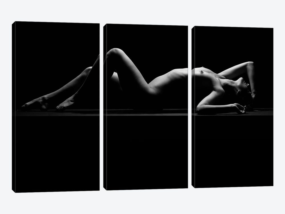 Nude Laying Down Woman Naked Sensual On Black Background VII by Alessandro Della Torre 3-piece Canvas Print