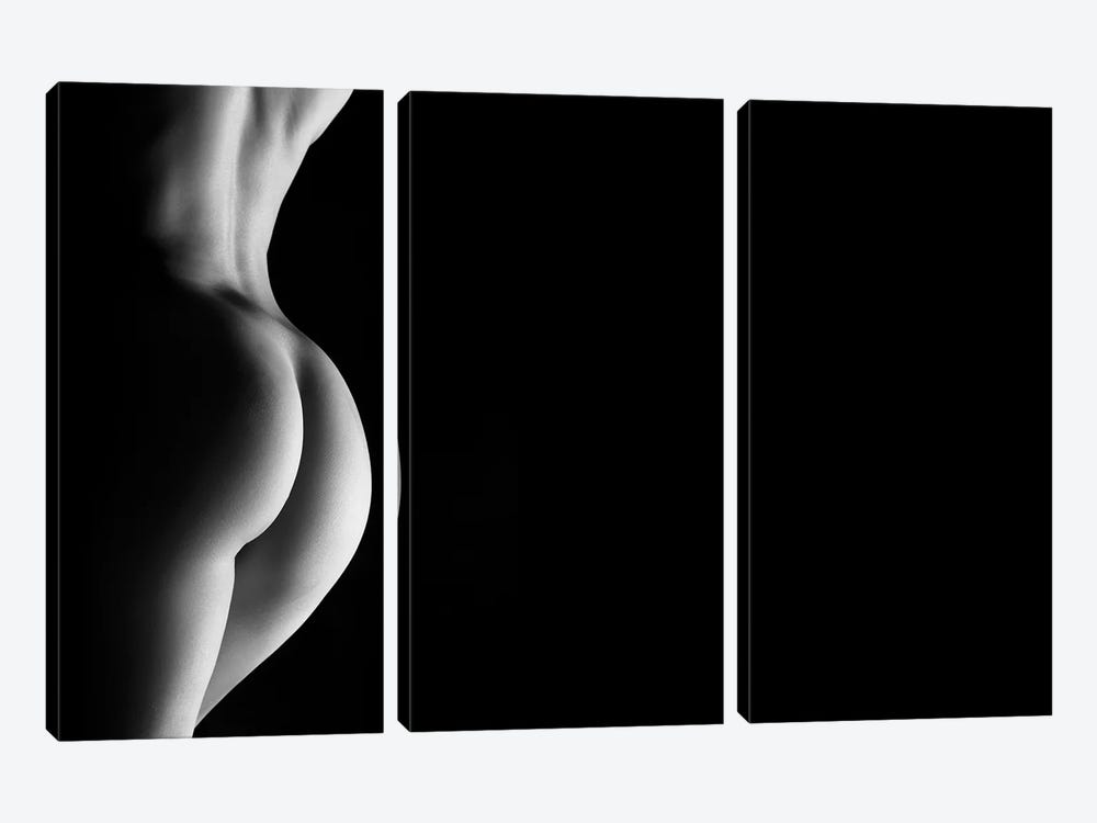 Nude Standing Black And White Sensual Naked Woman by Alessandro Della Torre 3-piece Canvas Print