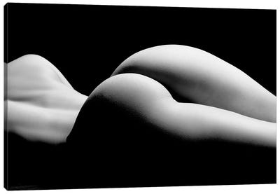 Nude Laying Down Woman Naked Sensual On Black Background XII Canvas Art Print