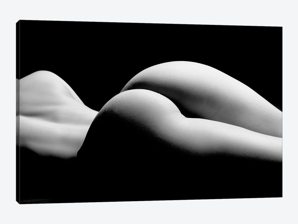 Nude Laying Down Woman Naked Sensual On Black Background XII by Alessandro Della Torre 1-piece Canvas Art Print