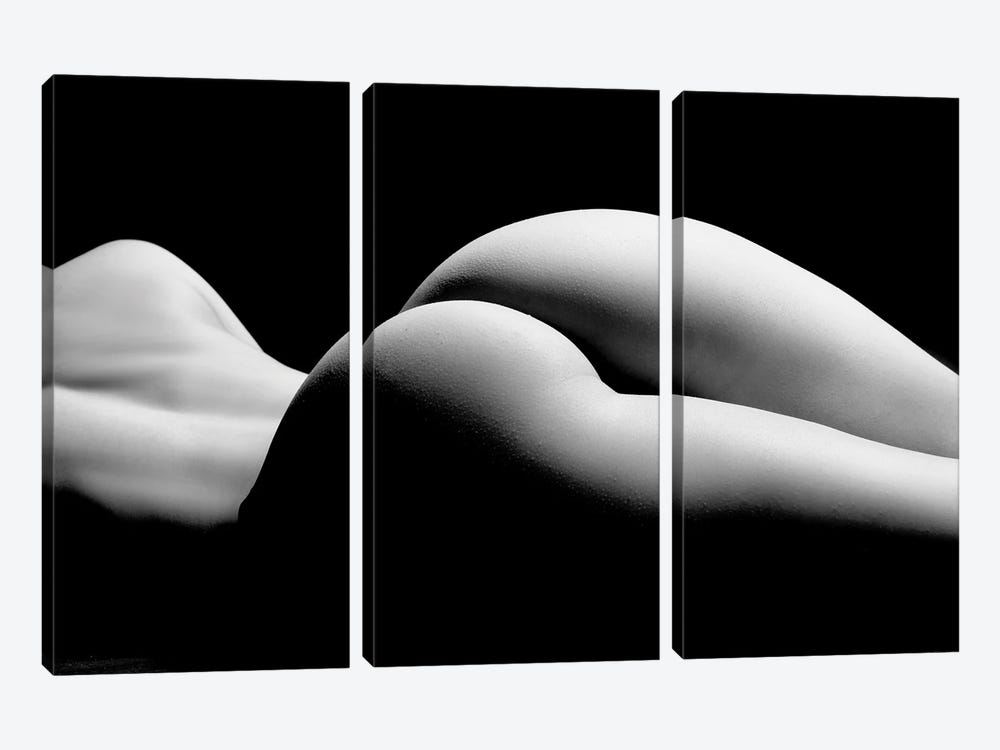 Nude Laying Down Woman Naked Sensual On Black Background XII by Alessandro Della Torre 3-piece Art Print