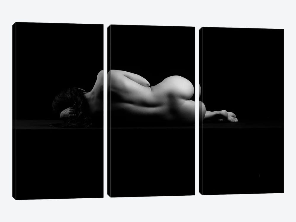 Nude Woman Sleeping Naked Laying Down Sensual Isolated On Black IV by Alessandro Della Torre 3-piece Canvas Art Print