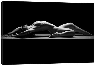 Nude Woman Black And White Fine Art Naked Girl Laying Down III Canvas Art Print
