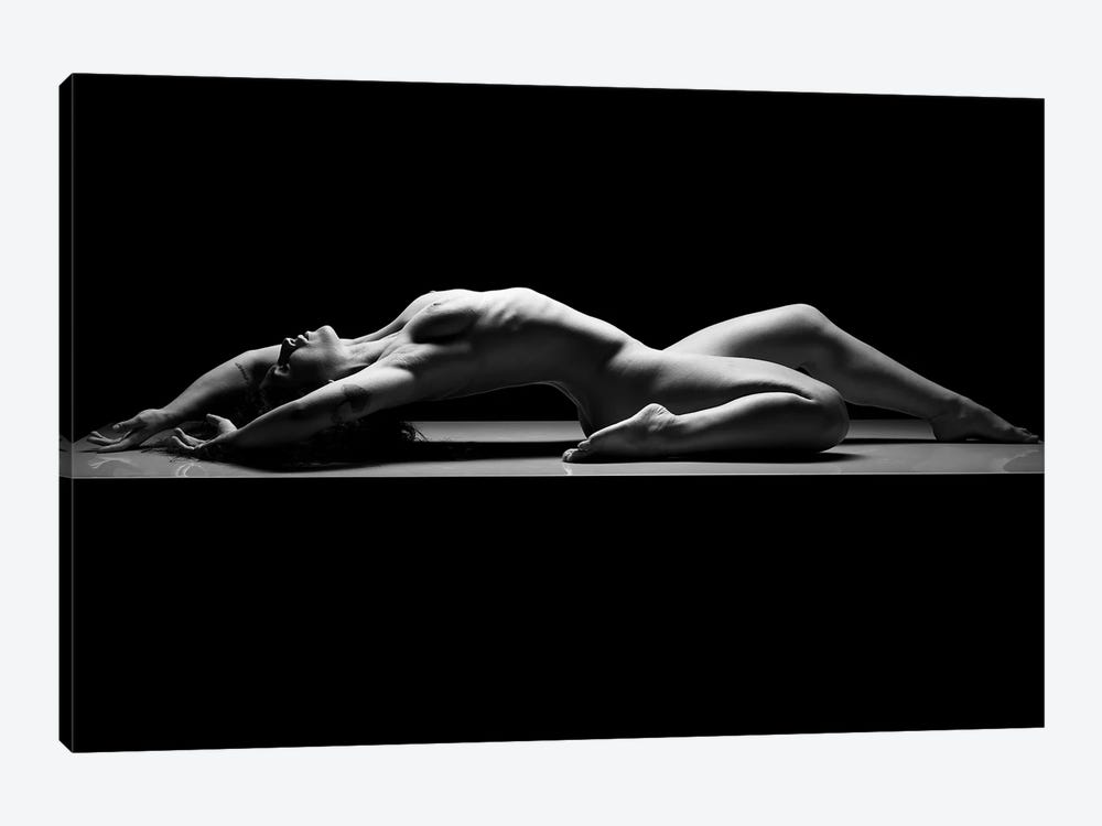 Nude Woman Black And White Fine Art Naked Girl Laying Down III by Alessandro Della Torre 1-piece Canvas Artwork