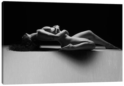 Nude Woman Black And White Fine Art Naked Girl Laying Down VI Canvas Art Print