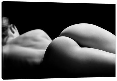 Nude Sensual Woman Laying Down Naked With Perfect Body And Buttocks Canvas Art Print