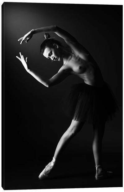 Classic Ballerina Dancer In Ballet Tutu Dress Classical Posing III Canvas Art Print