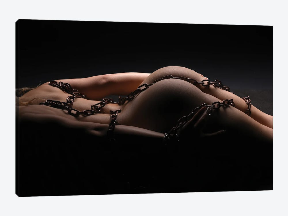 Nude Woman's Back And Ass With A Sexy Bondage Chain by Alessandro Della Torre 1-piece Canvas Print
