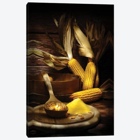 Yellow Corn With Powder On A Chopping Board Into A Wood Wooden Table Canvas Print #ADT513} by Alessandro Della Torre Canvas Artwork
