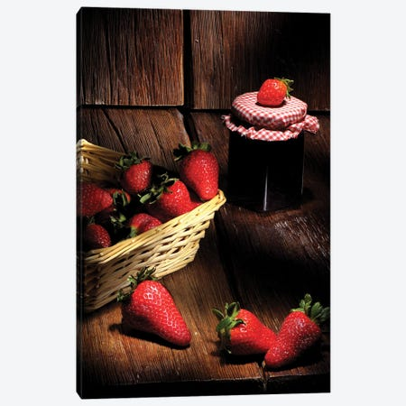 Red Strawberries And A Basket On A Wood Wooden Table Canvas Print #ADT516} by Alessandro Della Torre Canvas Art Print