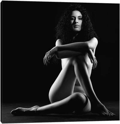 Black And White Nude Woman Canvas Art Print