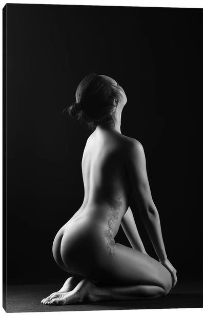 Black And White Erotic Naked Sitting Down Nude Woman III Canvas Art Print
