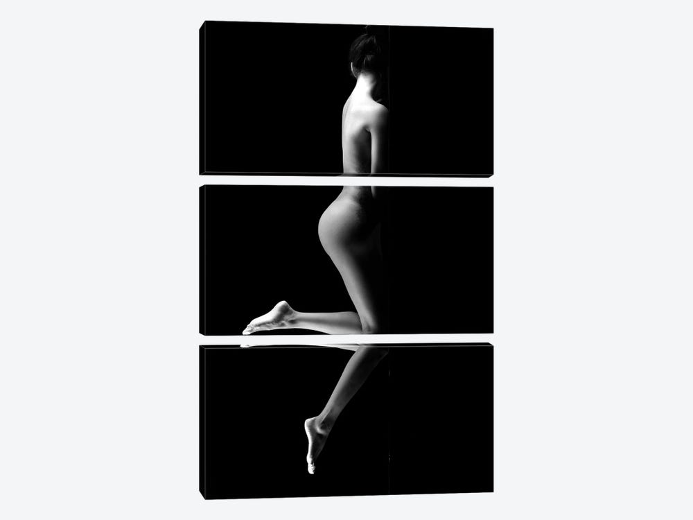 Black And White Erotic Naked Standing As Nude Woman I by Alessandro Della Torre 3-piece Canvas Artwork