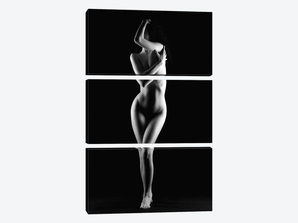 Naked Woman Standing Nude Girl by Alessandro Della Torre 3-piece Canvas Print