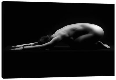 Nude Woman Laying Down With Naked Back On The Ground Canvas Art Print