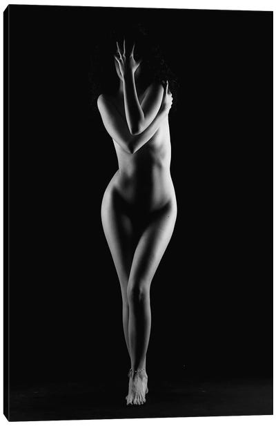 Black And White Nude Woman Silhouette IV Canvas Art Print