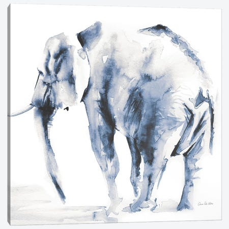 Lone Elephant Blue Gray Canvas Print #ADV10} by Aimee Del Valle Art Print