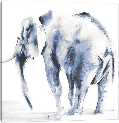 Lone Elephant Blue Gray Canvas Art Print