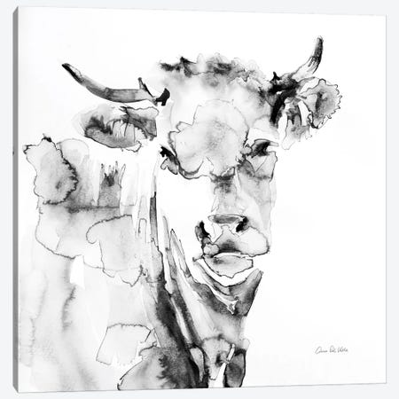 Village Cow Gray 3-Piece Canvas #ADV11} by Aimee Del Valle Canvas Art Print