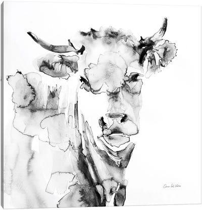 Village Cow Gray Canvas Art Print