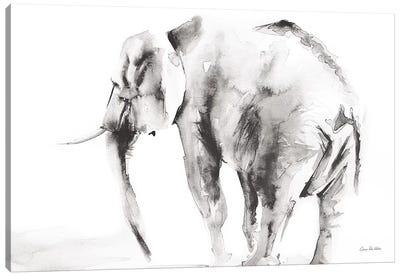 Lone Elephant Gray Canvas Art Print