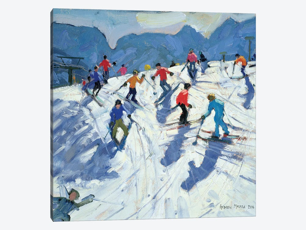 Busy Ski Slope, Lofer by Andrew Macara 1-piece Canvas Art