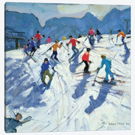 Busy Ski Slope, Lofer Canvas Print #ADW3} by Andrew Macara Canvas Wall Art