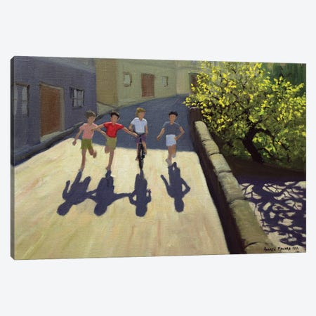 Children Running, Lesbos Canvas Print #ADW6} by Andrew Macara Art Print