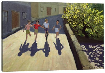 Children Running, Lesbos Canvas Art Print