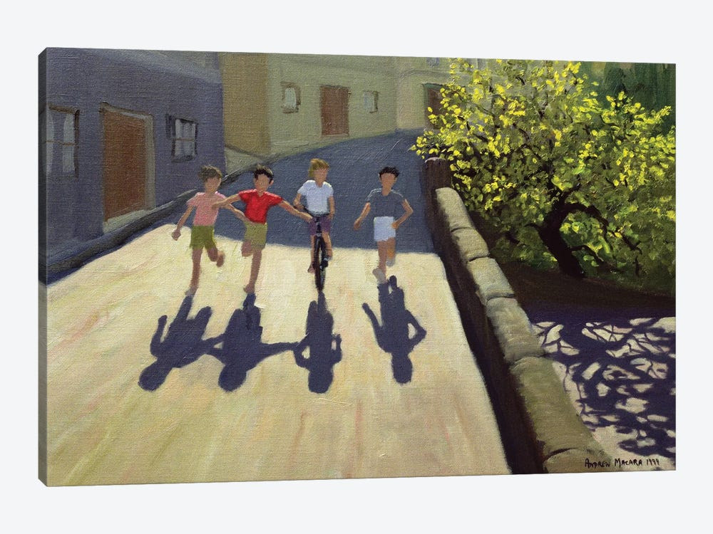 Children Running, Lesbos by Andrew Macara 1-piece Canvas Print