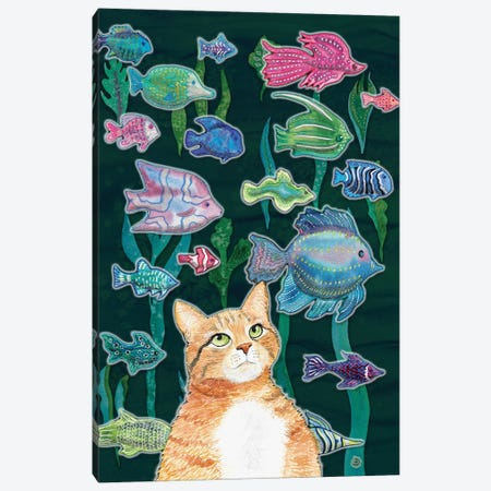 Cat Watching The Fish Tank II Canvas Print #AEE10} by Andreea Dumez Canvas Art Print