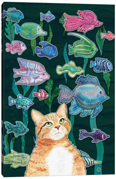 Cat Watching The Fish Tank II Canvas Art Print