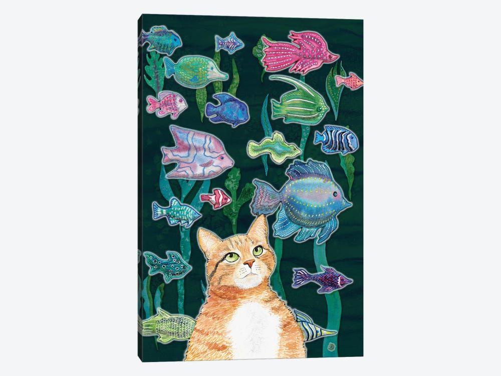 Cat Watching The Fish Tank II by Andreea Dumez 1-piece Canvas Art Print