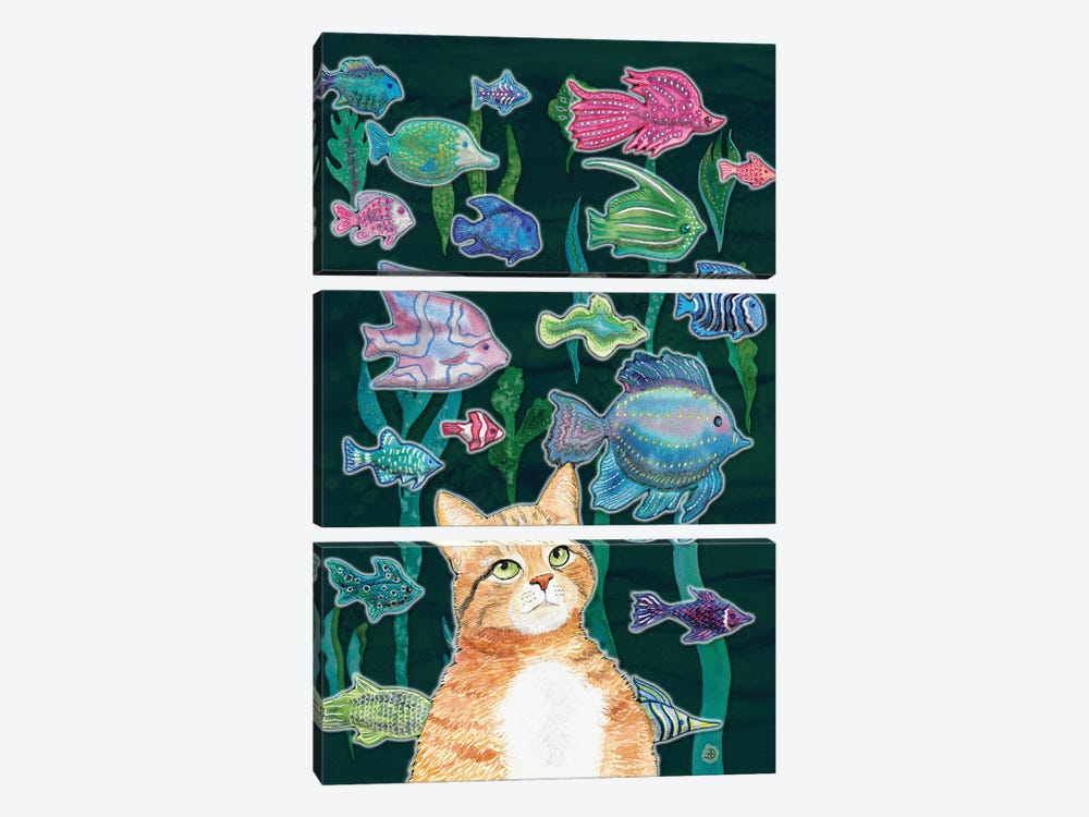 Cat Watching The Fish Tank II by Andreea Dumez 3-piece Canvas Print