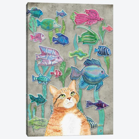 Cat Watching The Fish Tank III Canvas Print #AEE11} by Andreea Dumez Canvas Art Print