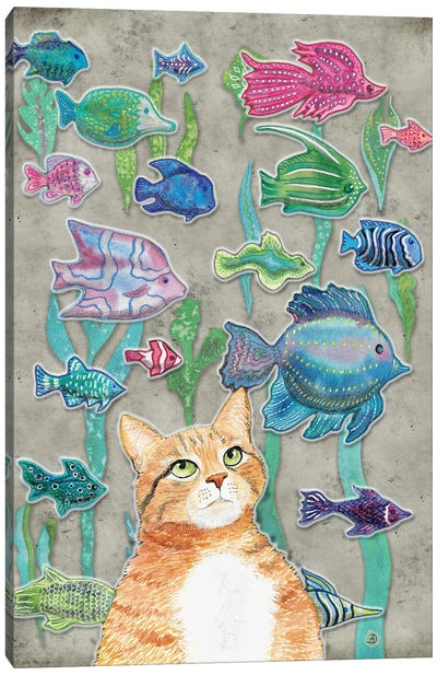 Cat Watching The Fish Tank III Canvas Art Print