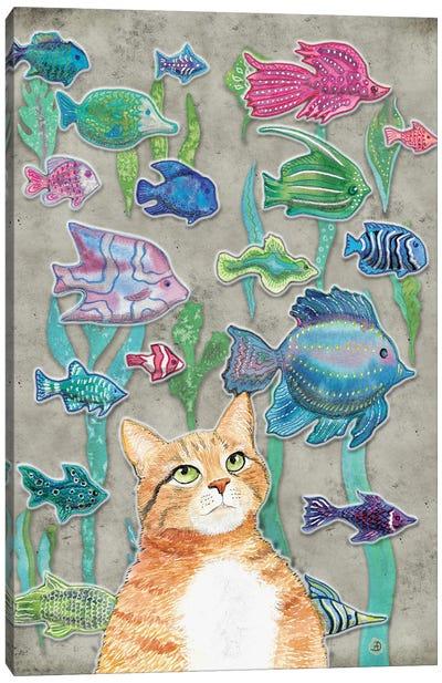 Cat Watching The Fish Tank III Canvas Art Print