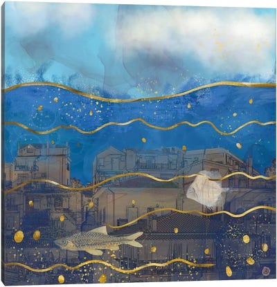 Cities Under Water - Surreal Climate Change Canvas Art Print