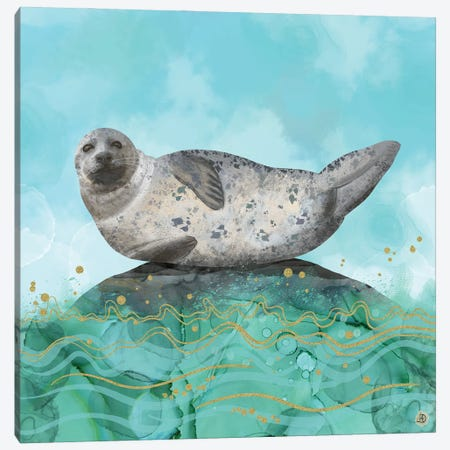 Cute Alaskan Iliamna Seal In Banana Pose Canvas Print #AEE13} by Andreea Dumez Art Print