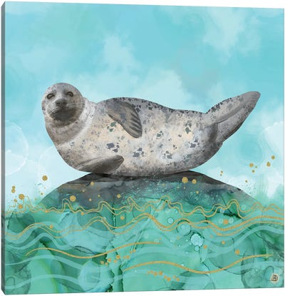 Cute Alaskan Iliamna Seal In Banana Pose Canvas Art Print