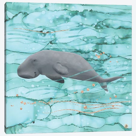 Cute Dugong Swimming Underwater Canvas Print #AEE14} by Andreea Dumez Canvas Art